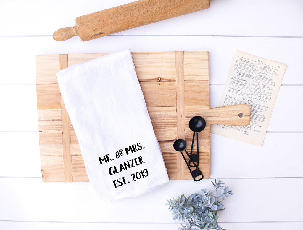 Mr. And Mrs. Established Date Flour Sack Kitchen Towel