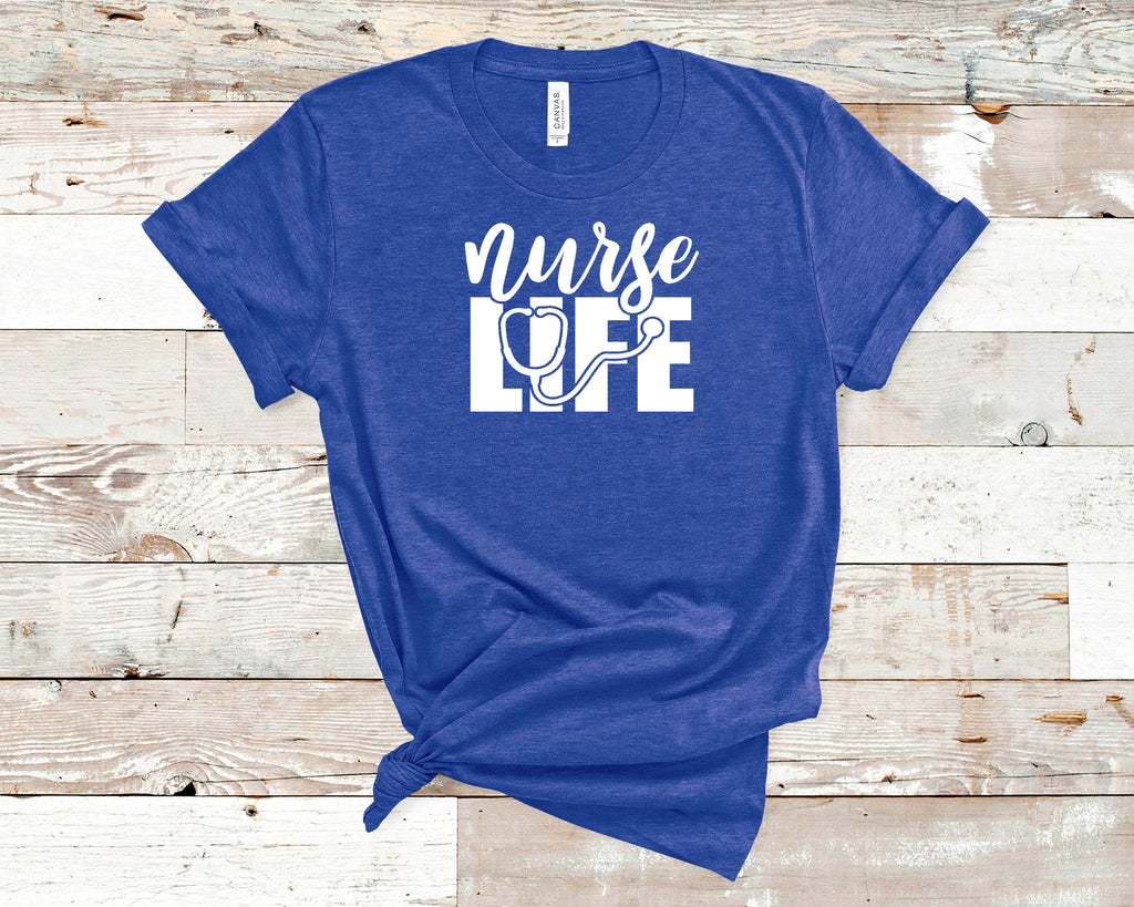 Nurse Life T-Shirt on Blue shirt