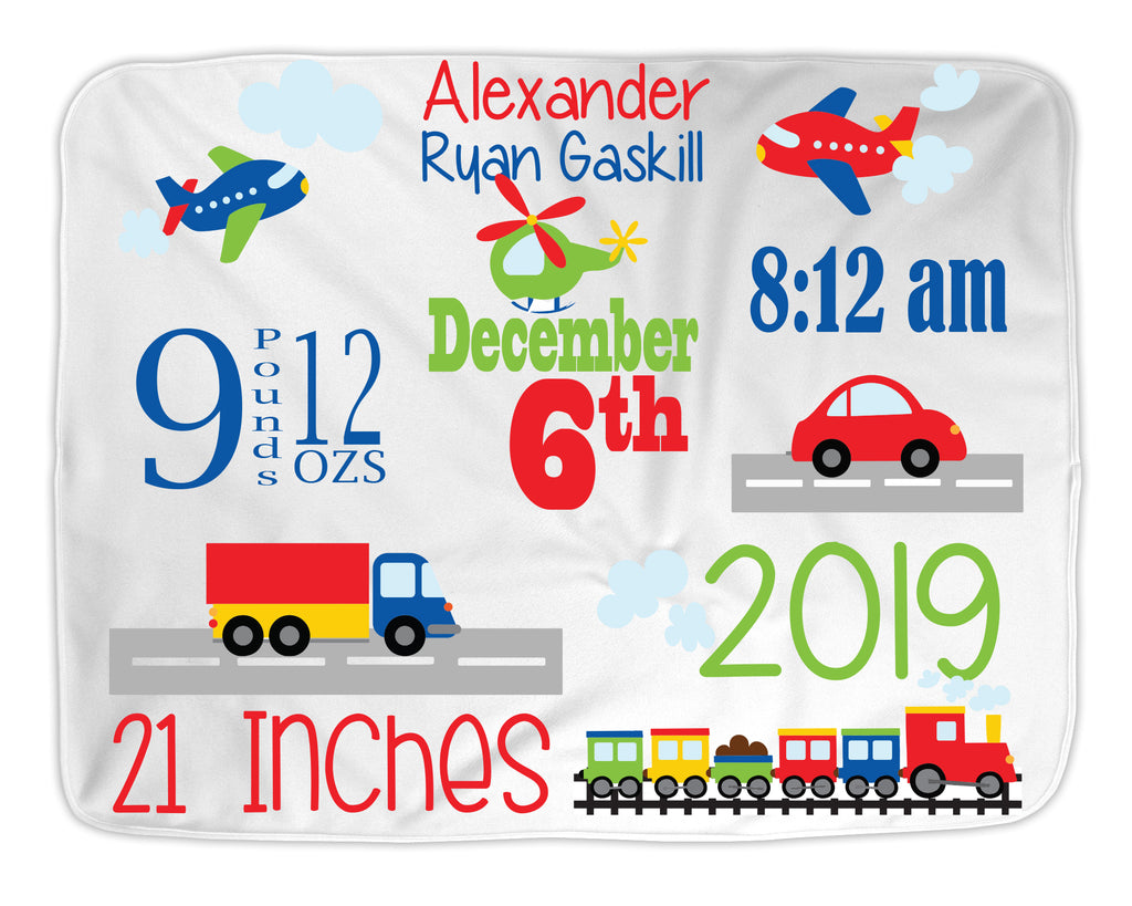 Personalized Baby Blanket for Baby Boy with Trucks, Airplanes and Cars