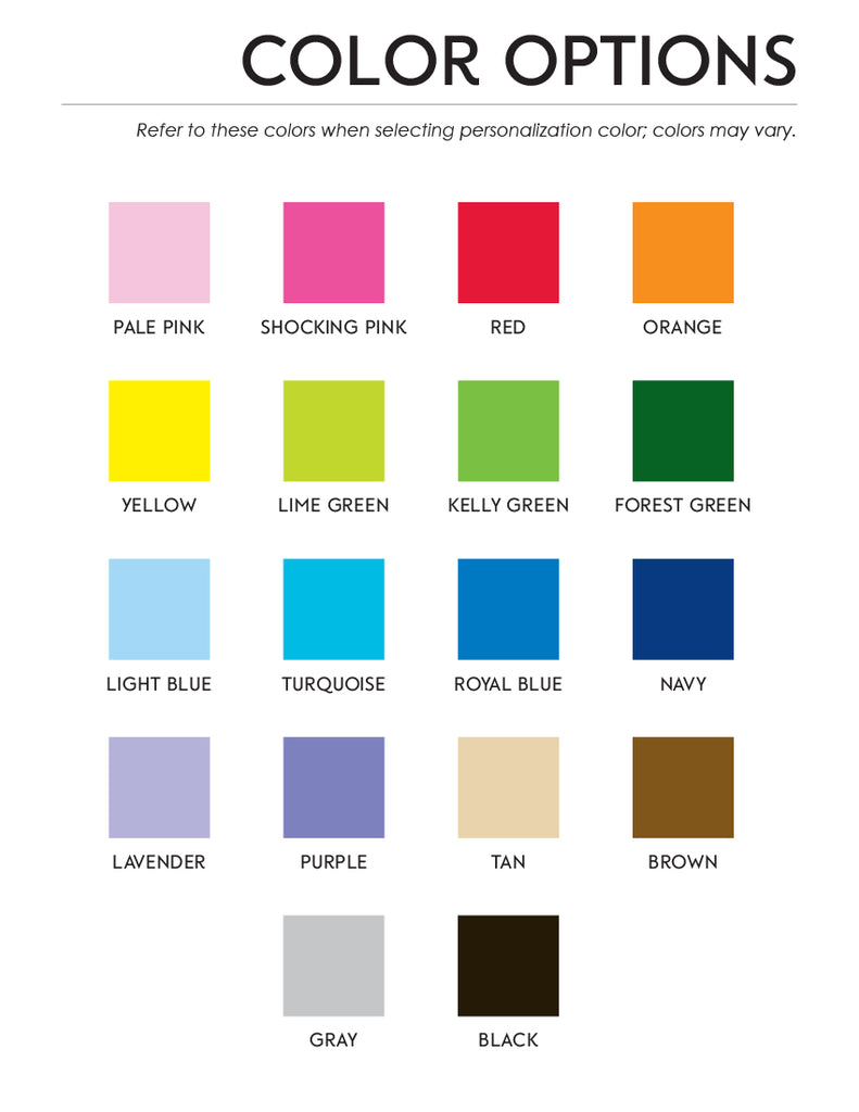 color options for notepads