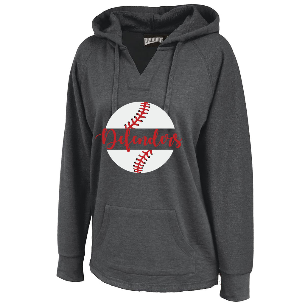 Defenders Baseball New 2019 Spirit Wear Sweat Shirt -Pennant Sportswear Women's Volley Hoodie Black
