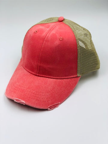 Distressed Baseball Cap in Pink