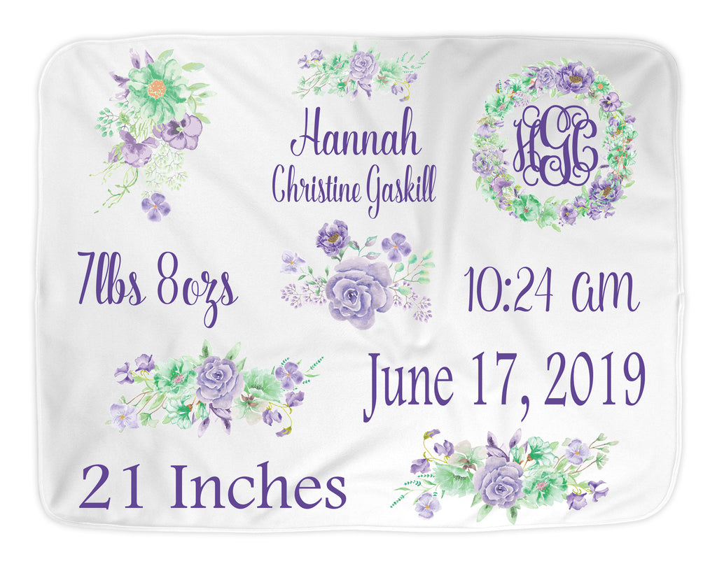 Personalized Purple Flower Themed Baby Blanket for Baby Girl Includes Birth Information