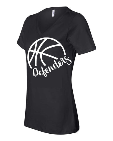 Defenders Side Basketball Spirit Wear  T-Shirt -Bella Canvas Women's V-Neck