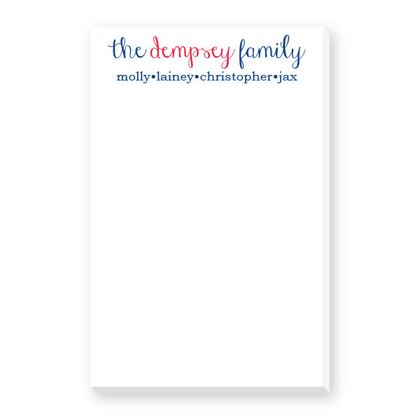 Family Notepad with script and block fonts