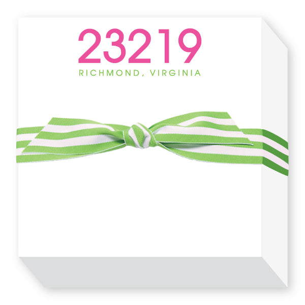 Zip Code Notepads in Pink And Green