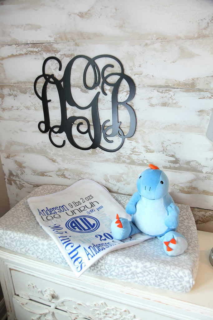 Personalized Baby Blanket for Baby Boy Includes Birth Information