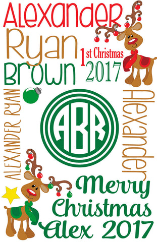 Baby's 1st Christmas Personalized Blanket (Boy version with Circle Monogram)