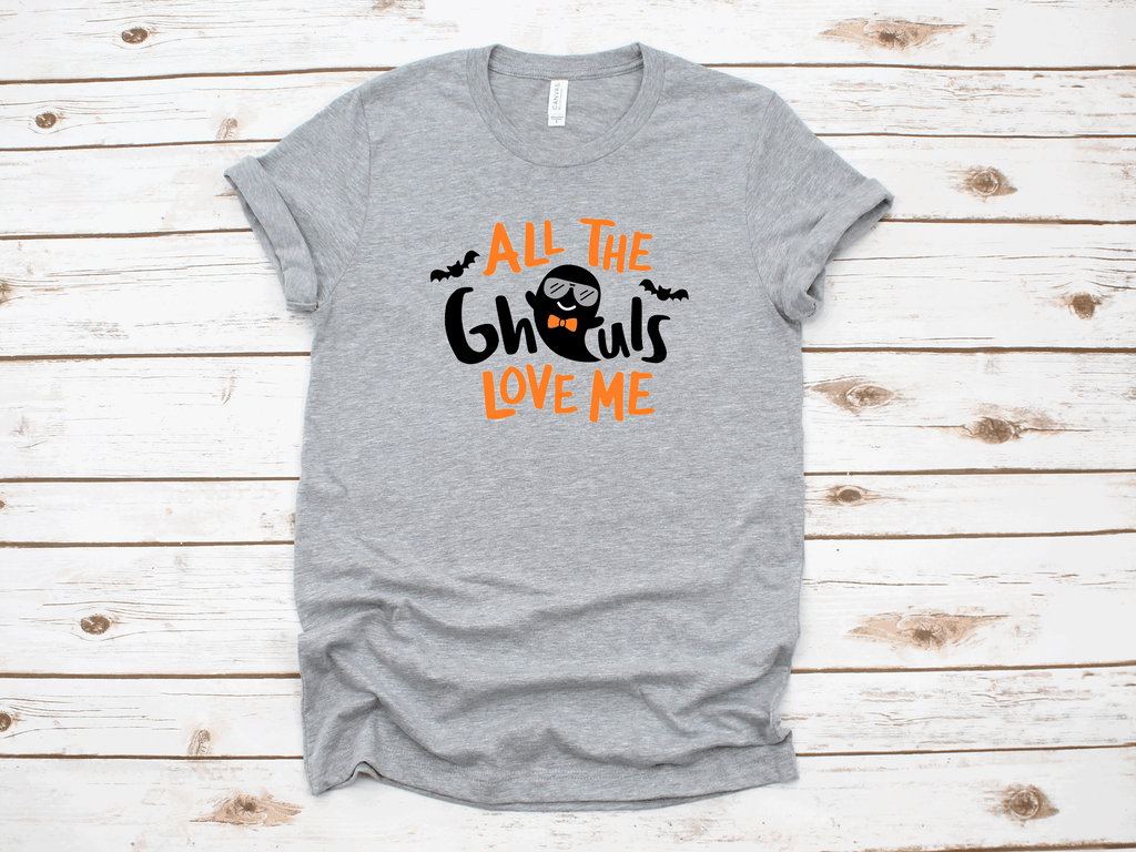 All The Ghouls Love Me Halloween T-Shirt in gray