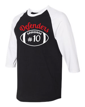 Defenders Football Helmet with Number Spirit Wear-Gildan - Heavy Cotton Three-Quarter Raglan Sleeve T-Shirt