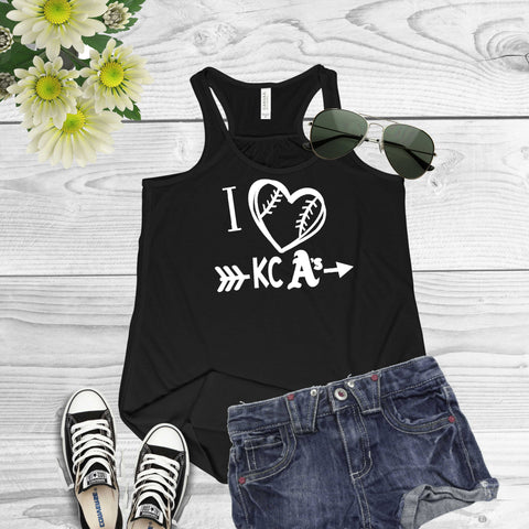 I Heart KC A's Baseball-Bella Canvas Flowy Racerback Tank For Women