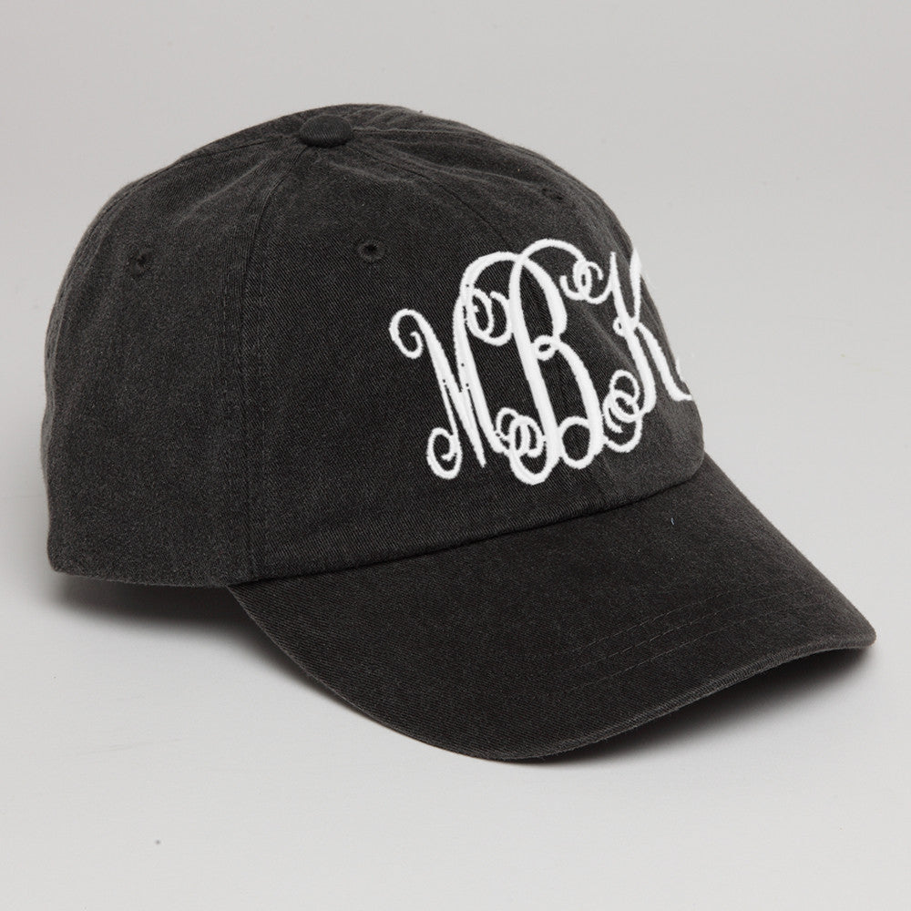 Black Monogrammed Baseball Hat-Black
