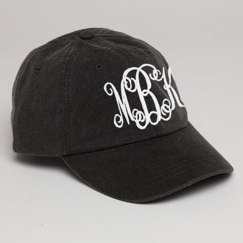 Monogram Baseball Hat-Black-Dark Gray