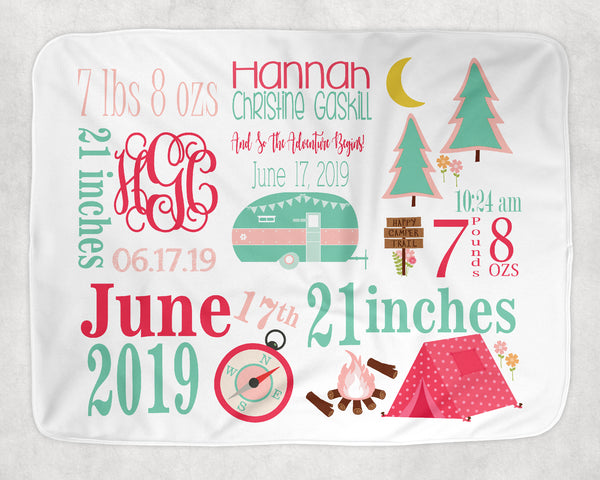 Personalized Camp Theme Baby Blanket for Baby Girl Includes Birth Information