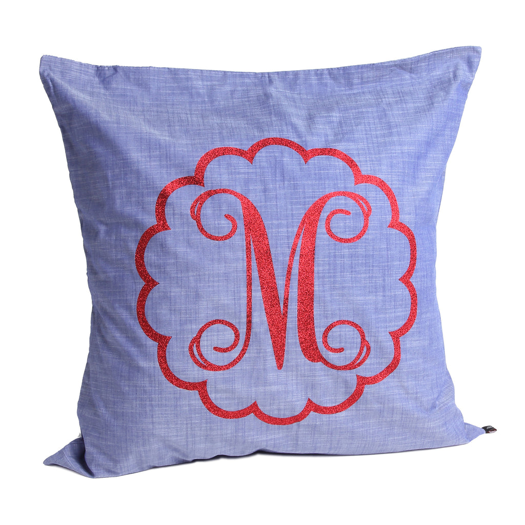 Chambray Pillow with scalloped scroll letter