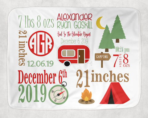 Personalized Camp Theme Baby Blanket for Baby Boy Includes Birth Information