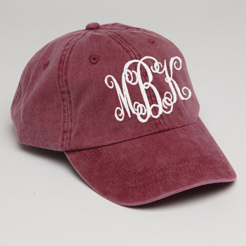 Monogram Baseball Hat-Burgundy