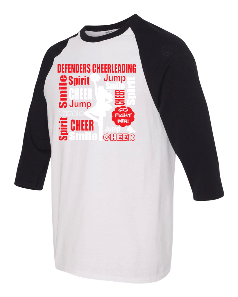 Defenders Cheer Collage-Gildan - Youth Heavy Cotton Three-Quarter Raglan Sleeve Baseball T-Shirt