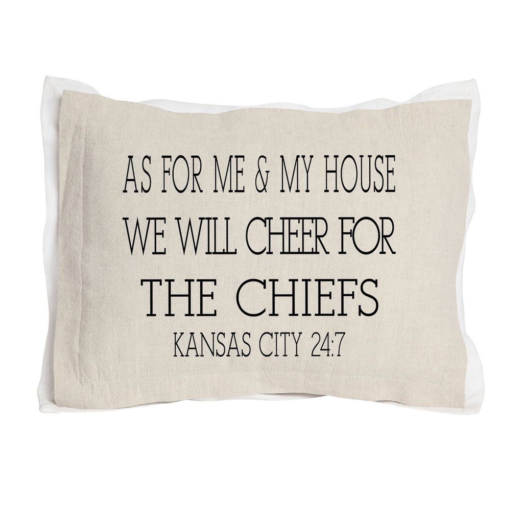 As for Me & My House We will Cheer for... Tan Pillow