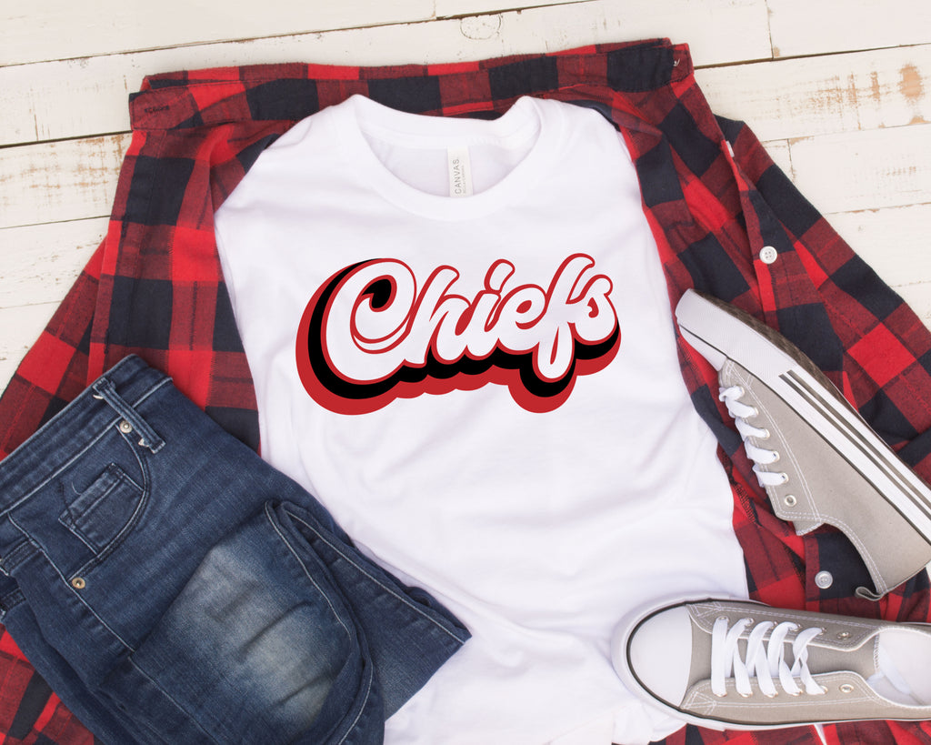 Retro chiefs design on plaid shirt