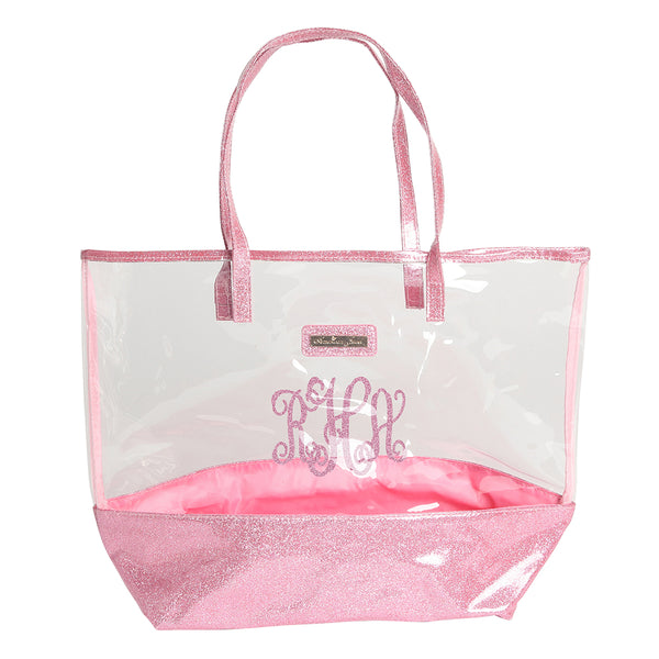 Monogrammed Clear Tote Bag with Glitter