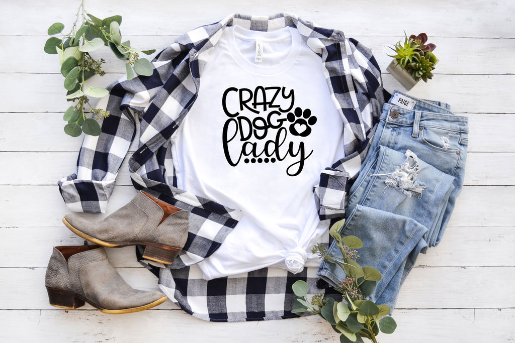 Crazy Dog Lady T-Shirt on white with black text