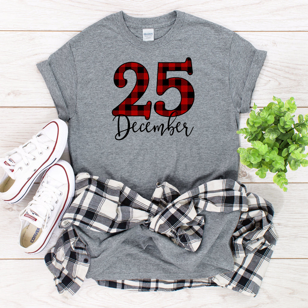 Plaid December 25th Christmas T-Shirt on gray shirt