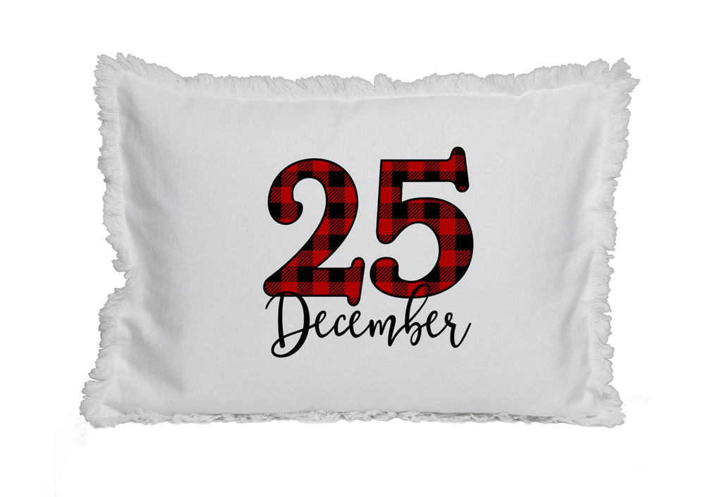Plaid December 25th Pillow on Fringed White Pillow with Insert