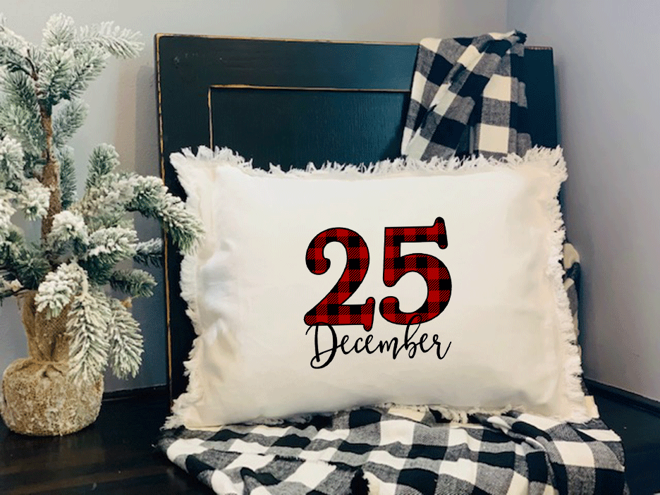 Plaid December 25th Pillow on Fringed White Pillow with Insert with black and white blanket