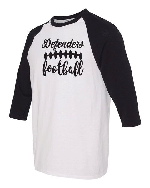 Defenders Football Laces Spirit Wear-Gildan - YOUTH Heavy Cotton Three-Quarter Raglan Sleeve Baseball T-Shirt