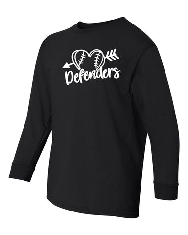 Defenders Heart Baseball New Spirit Wear Gildan Heavy Cotton-Long Sleeve YOUTH SIZES