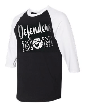 Defenders Mom Basketball Spirit Wear-Gildan - Heavy Cotton Three-Quarter Raglan Sleeve Baseball T-Shirt
