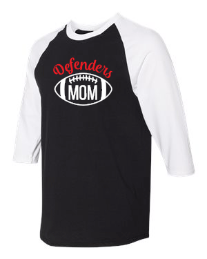 Defenders Mom Helmet  Spirit Wear-Gildan - Heavy Cotton Three-Quarter Raglan Sleeve T-Shirt