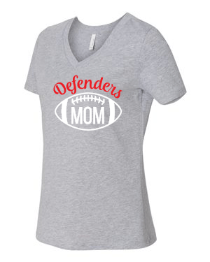 Defenders Football Helmet Mom Spirit Wear T-Shirt -Bella Canvas Women's V-Neck