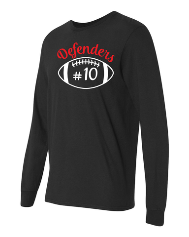Defenders Spirit Wear FootBall Helmet with number-Gildan Heavy Cotton-Long Sleeve YOUTH SIZES
