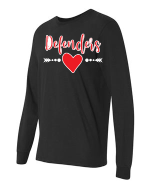 Defenders  Spirit Wear with Heart-Fruit of the Loom Long Sleeve T-shirt