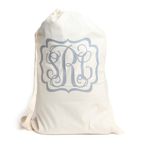 Muslin Laundry Sack with Fancy Scroll Frame and Monogram