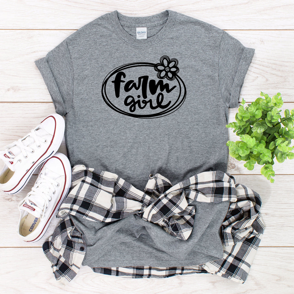 Farm Girl T-Shirt on Gray Shirt