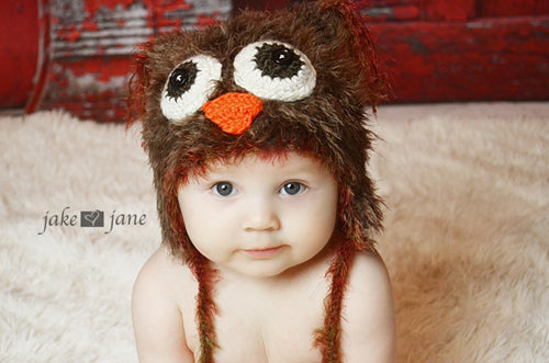 Owl NewBorn Hat for Newborn Photoshoot-Crochet