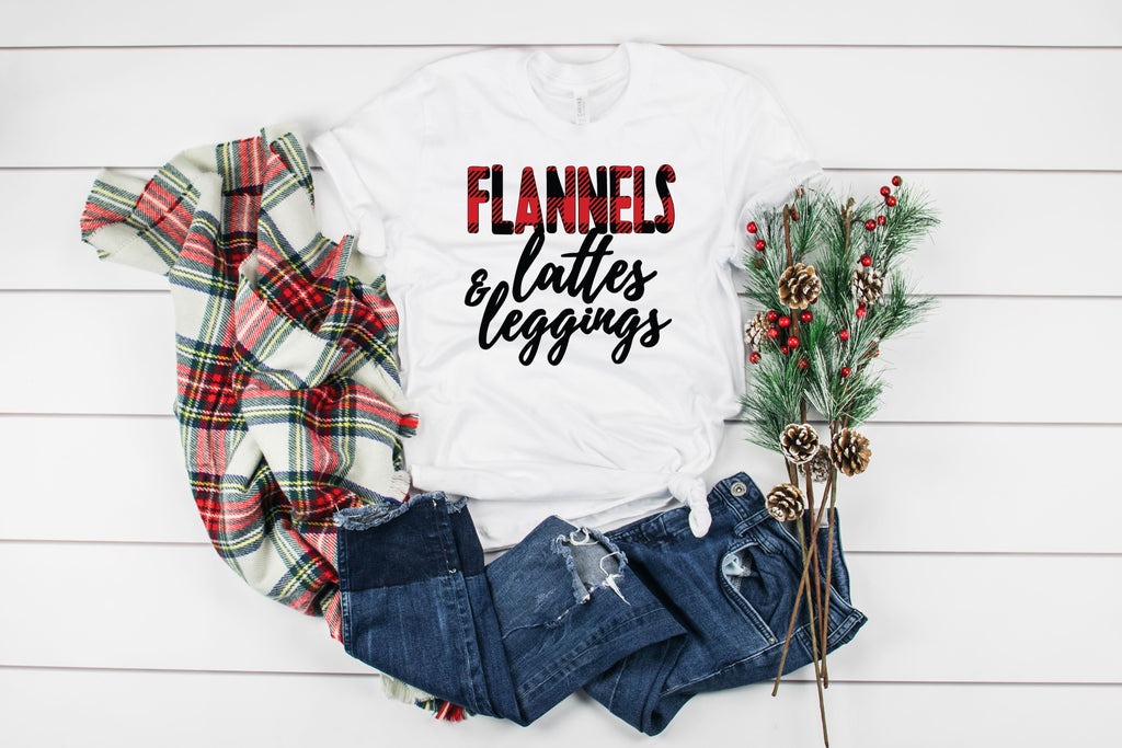 Flannel, Leggings and Lattes T-Shirt on white t-shirt