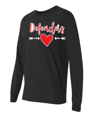 Defenders Spirit Wear Heart with Arrow-Gildan Heavy Cotton-Long Sleeve YOUTH SIZES