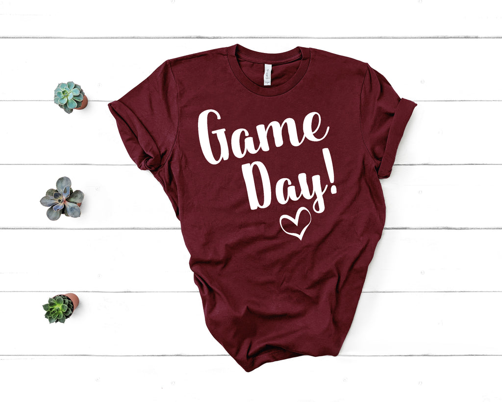 Game Day Shirt! White Letters on Maroon Shirt