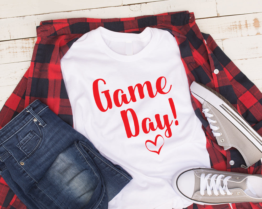 Game Day Shirt! Red Letters on White Shirt