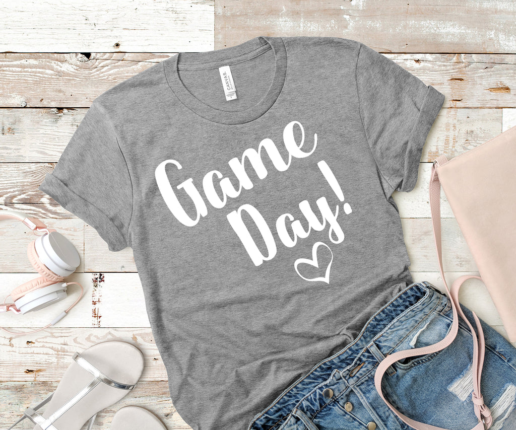 Game Day Shirt! White Letters on Gray Shirt