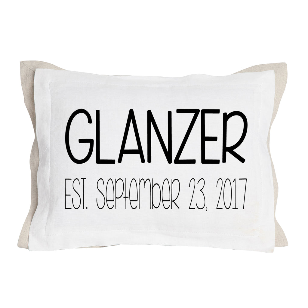 Custom Wedding Name and Established Date Pillow-Two Layers of Fabric