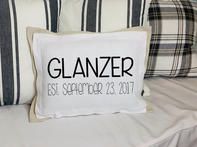 White Pillow front with wedding date