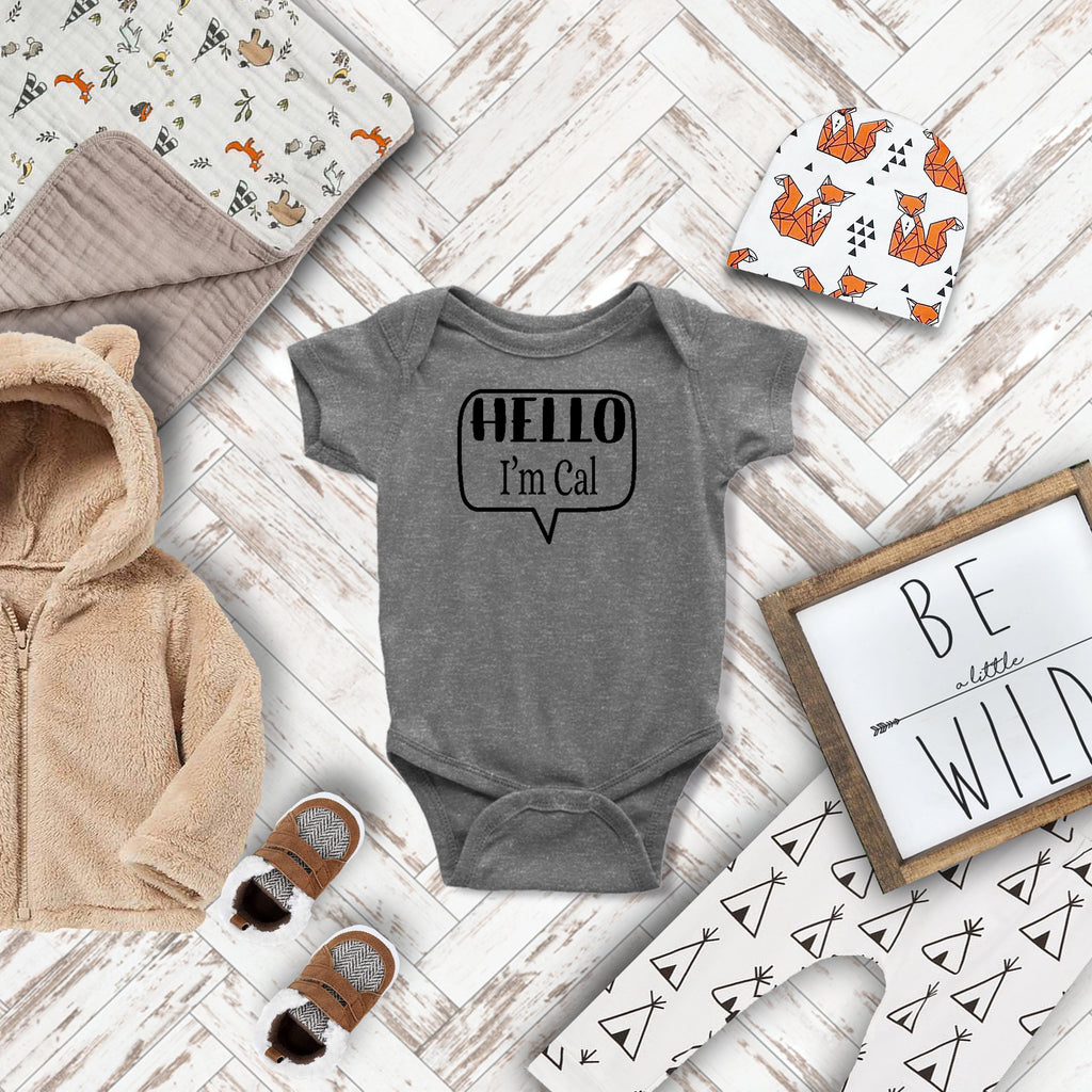 Hello I'm ... Personalized Name Tag Rabbit Skin Body Suit in Gray, White or Black