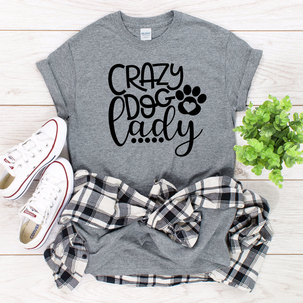 Crazy Dog Lady T-Shirt on gray with black text