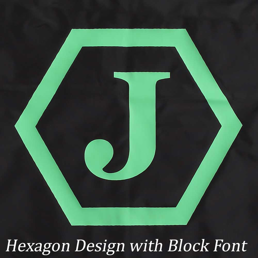 Hexagon design with block font