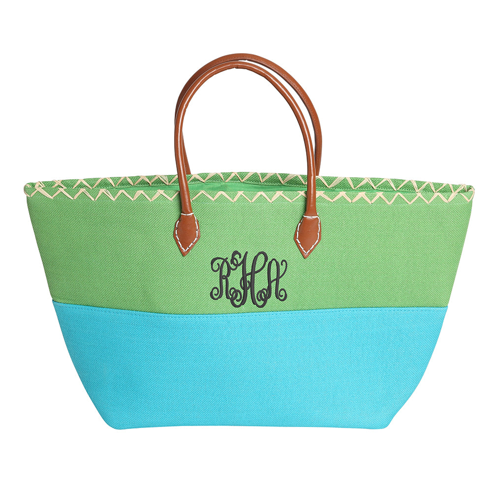 Lime Green and Turquoise Beach Bag with Monogram